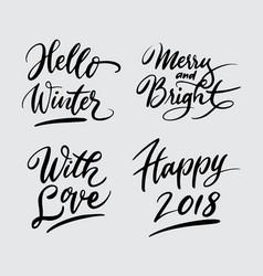 hello winter and happy new year handwriting callig vector image