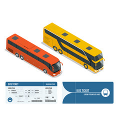 isometric realistic bus and boarding pass ticket vector image