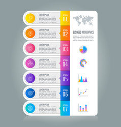 timeline infographic business concept with 7 vector image