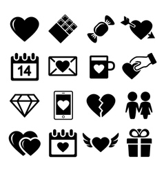 Valentine day love icons set vector image vector image