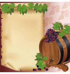 Wine background with grape barrel and paper vector image
