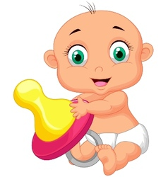 Baby cartoon holding pacifier vector image vector image