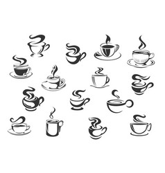 coffee cups icons set vector image vector image