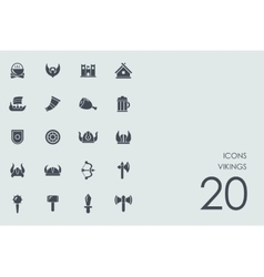 Set of Vikings icons vector image