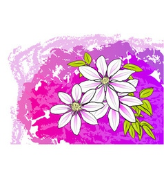 white flower on the purple background vector image
