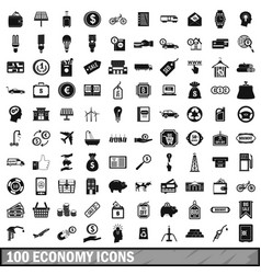 100 economy icons set simple style vector image