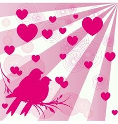 Card of romantic love birds vector image