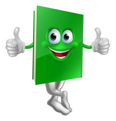 cute thumbs up green book character vector image vector image