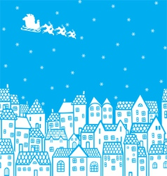 Santa over the city vector image vector image