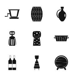 Wine company icon set simple style vector