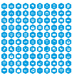 100 postal service icons set blue vector