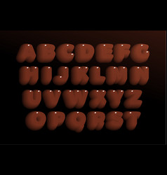 3d chocolate letters set brown heavy bold style vector