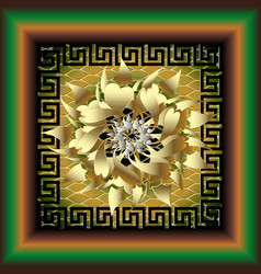 3d greek floral panel pattern modern vector image