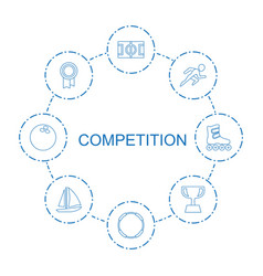 8 competition icons vector