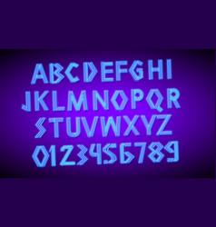 80 s blue neon retro font futuristic script vector image