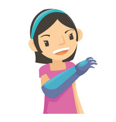 a cute girl look happy even though with robot arm vector image