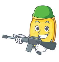 Army potato chips character cartoon vector