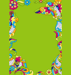 background with tropical parrots mexican ceramic vector image