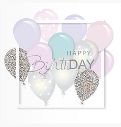 balloons in paper cut out frame birthday vector image