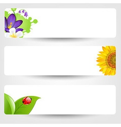 Banners With Flowers And Ladybug vector