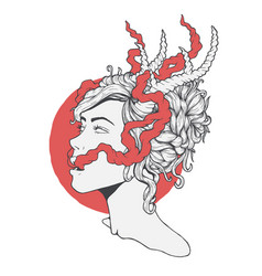 Beautiful girl with horns vector