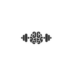 Black brain with dumbbells icon intellect vector