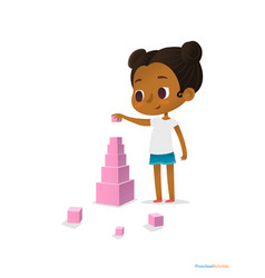 Black girl wearing t-shirt and blue shorts stands vector