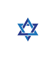 blue star david icon israel symbol vector image