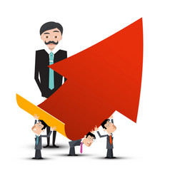 business people with red arrow vector image