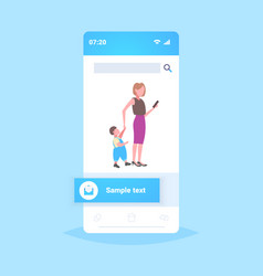 business woman using cellphone while walking with vector image