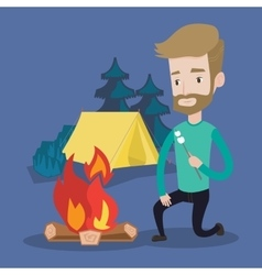 Businessman roasting marshmallow over campfire vector image