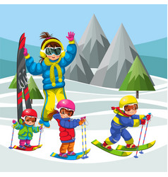 cartoon family skiing in snowy hills together vector image