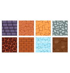 cartoon game ground texture game brick surface vector image