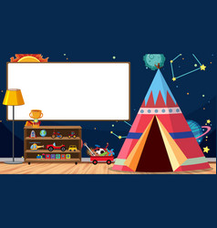 Children room with whiteboard and tent vector