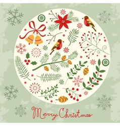 Christmas card with decorative elements vector