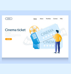 cinema ticket website landing page design vector image