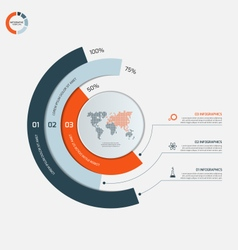 Circle infographic template with 3 options vector