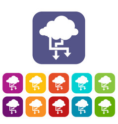 Cloud and arrows icons set vector