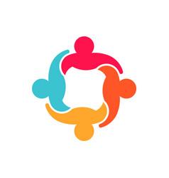 cooperation teamwork people group logo design vector image