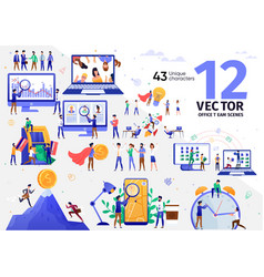 digital marketing business team scenes set vector image