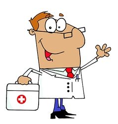 Doctor Man Carrying His Medical Bag vector