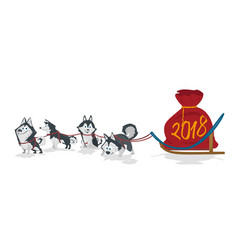 Dogs sled team and chrismas bag with numbers 2018 vector