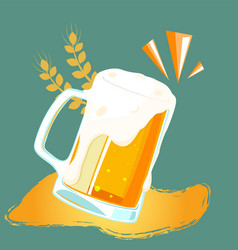 drink mug of beer barley background image vector image