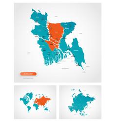 Editable template map bangladesh with marks vector