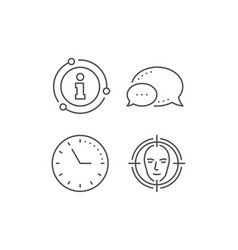 Face detect target line icon head recognition vector