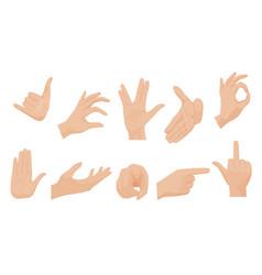 flat style set various human hands vector image