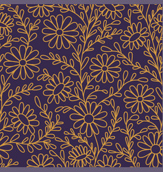Floral pattern chamomiles seamless pattern gold vector