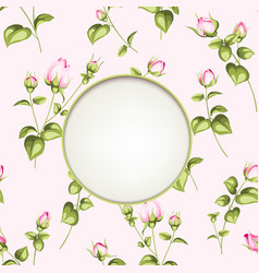Flower garland circle label of flowers vector