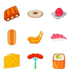 Fried rib icons set cartoon style vector