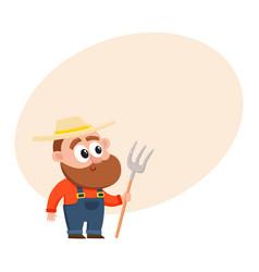 Funny farmer gardener character in overalls vector